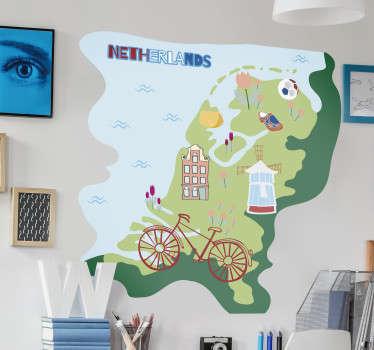 Muurstickers kinderkamer Kaart Nederland