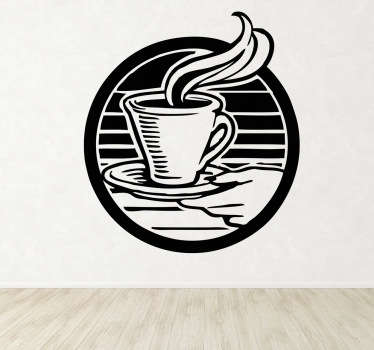 A logo illustration of a hand holding a hot cup of coffee. Brilliant coffee wall art decal to decorate your own home or coffee shop.