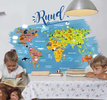 Muurstickers kinderkamer Dieren wereldkaart sierlijk