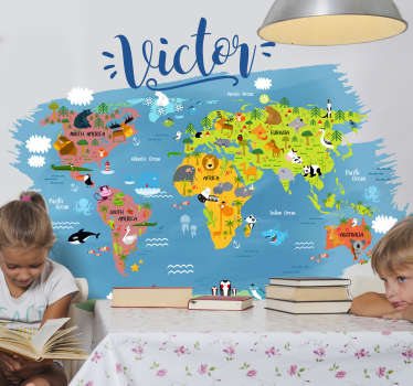Start educating your children of the world around them with this amazing personalised cartoon world map sticker. Worldwide delivery!