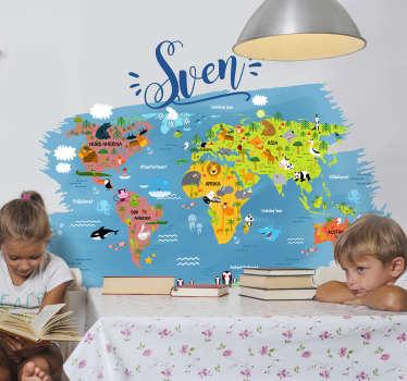 Barn soverommet vegg klistremerke på verdenskartet fylt med navnet på de viktigste dyrene på hvert kontinent og hav på norsk med tilpasset navn.