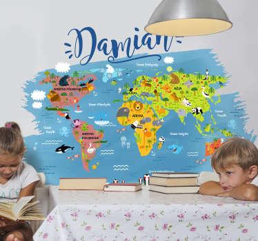 Naklejka mapa świat zwierzęta oceany imię