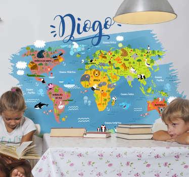 Autocolante mundo Mapa mundo com animais