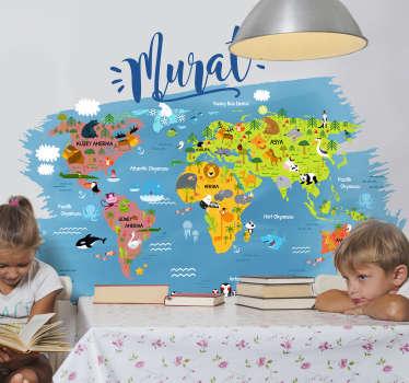 Türkçe duvar çıkartmasıyla dünya haritası