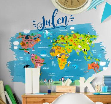 Vinilo infantil con el dibujo de un mapamundi personalizado con los nombres de continentes y océanos en vasco. Compra Online Segura y Garantizada.