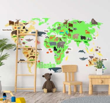 Ilustrační mapa světa nálepka s faunou zvířata na něm v krásném pozadí. Design ideální pro všechny věkové kategorie a dekorativní pro všechny povrchy.