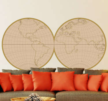 Give your home a cool and edgy feel with this amazing Antique World Map wall sticker. Free worldwide delivery available!