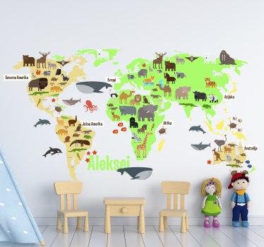 Zemljevid sveta favne z imenom v slovenščini