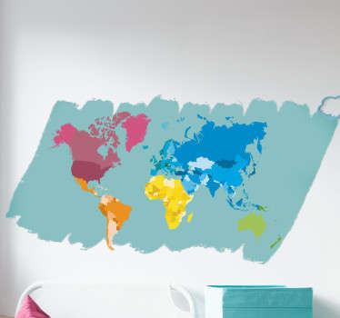 Shadow off both how artistic you are and your love for cartography with this colourful world map sticker. Choose from a range of sizes!