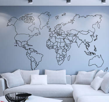 Outline World Map Wall Sticker