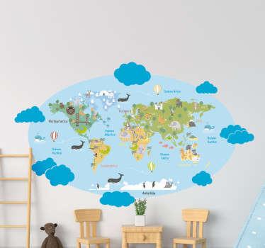 Vinilo mapamundi infantil con animales y nombre de continentes, rodeado de un cielo azul y nubes. Un producto de fácil colocación y primera calidad.