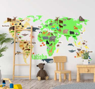 Deze gepersonaliseerde dieren muursticker is een mooie decoratie voor in de kamer van uw kind of dochter waar de naam en maat zelf kan worden bepaald.