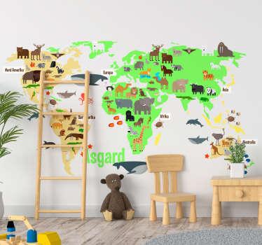 Fauna verdenskart med navn personlig klistremerke