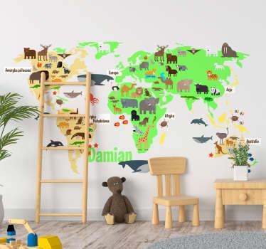 Naklejka mapa świata i zwierzęta dla dzieci