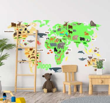 Vinil lugar Mapa Mundo Fauna personalizável