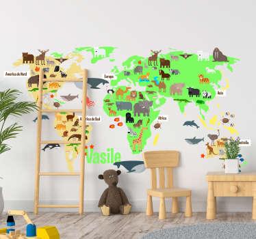 Autocolant de perete harta lumii dormitor pentru copii umplut cu animalele faunei de pe tot globul, în limba română pe care cei mici le va plăcea!