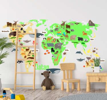 Fauna världskarta med namn i svensk väggdekor