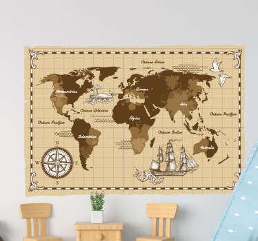 Mural de mapamundi en un color beige envejecido y con un estilo muy vintage, con los nombres de los continentes y océanos. Envío Express en 24/48h.