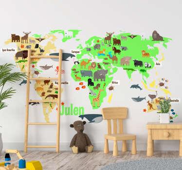 Türk dünya haritası duvar sticker adı ile fauna dünya haritası