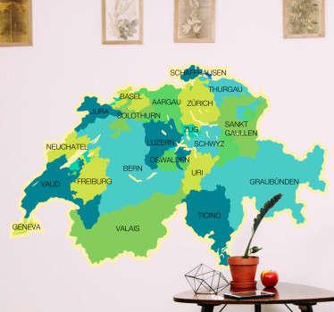 Ein weltkartenaufkleber der schweiz, der alle politischen regionen zeigt, ein ideales design für jugendzimmer. Einfach auf jeder ebenen fläche aufzutragen.