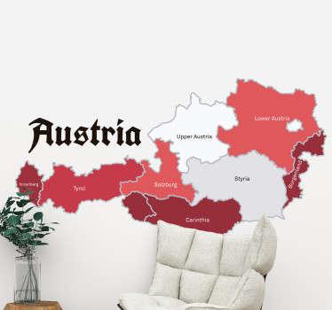 Wandtattoo der Landkarte Österreichs. Es sind alle Bundesländer dieses schönen Landes abgebildet und der Aufkleber ist in den Farben der Flagge.