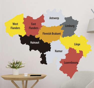 Exprimez votre amour pour la Belgique et affichez sa carte avec le nom des  différentes régions dans tous vos espaces avec ce sticker décoratif carte.