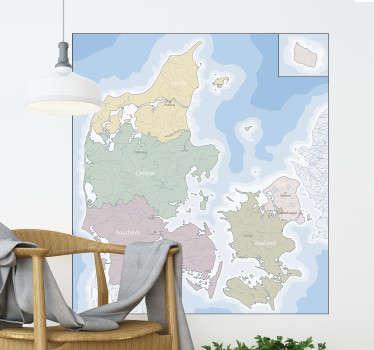Dansk politisk kort hjemmevægklistermærke