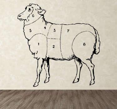 Autocollant mural parties mouton