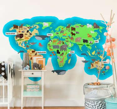 Autocolant de perete pentru dormitor pentru copii, harta mondială a faunei animale cu numele continentelor și oceanelor în limba română. Material extrem de îndelungat.