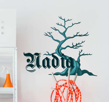 Spooky tree with personalised name halloween sticker
