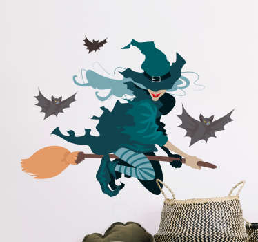 Easy to apply Halloween festival decal design of a flying witch with bats.  We have it in different size options to fit the space of choice.