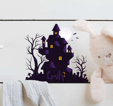 Decorative wall decal of a Halloween festival house designed with a colorful style with a personalisable name. Provide the name you want for it.