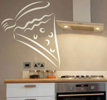 Wall Stickers - Decals - Outline illustration of a slice of cake with a fork. Ideal for homes or businesses such as cafes, bakeries and restaurants.
