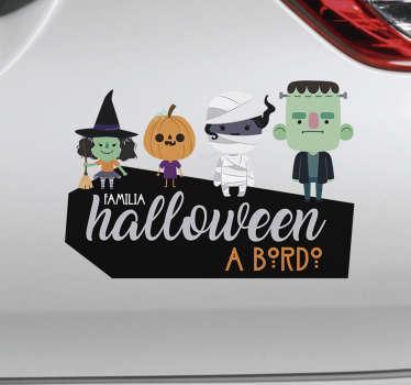 Pegatina familia a bordo halloween