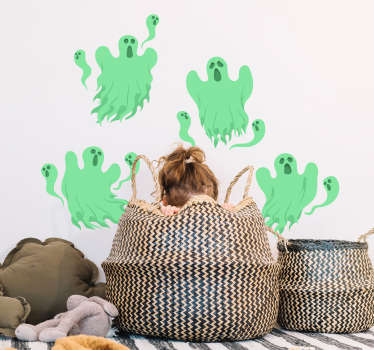 Green ghosts halloween sticker