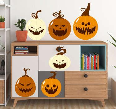 Set of pumpkins halloween stickers