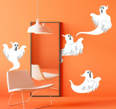 Set of ghosts halloween wall sticker