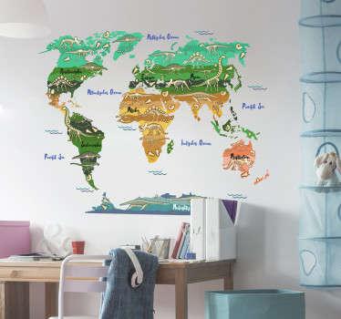 Wandtattoo Weltkarte perfekt für das Kinderzimmer thematisiert die verschiedenen Dinosaurier der verschiedenen Kontinente in schönen Erdtönen