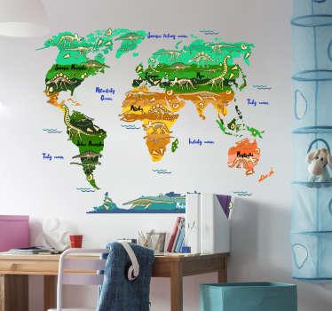Dekorativní mapa světa nálepka s jejími názvy v češtině a dinosaury všude ve velmi barevném pozadí. Ideální pro jakýkoli rovný povrch.