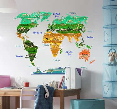 Et verdenskort klistermærke design oprettet med det navne på dansk med dinosaurus i fantastisk flerfarvet baggrund. Let at påføre klæbende vinyl.