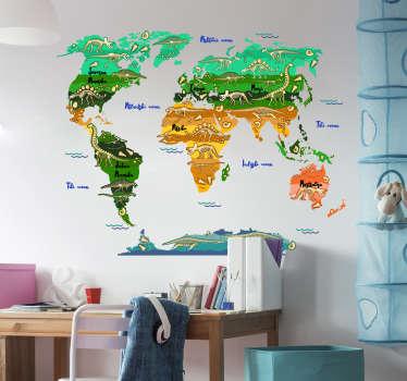 Okrasna nalepka svetovnega zemljevida, oblikovana v slovenskem jeziku z veliko dinozavrov in čudovitimi funkcijami v čudovitem večbarvnem ozadju.