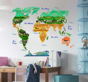 stickers muraux facile à appliquer d'une carte du monde avec des dinosaures et des noms en français. Un beau fond design à la fois illustratif et décoratif.
