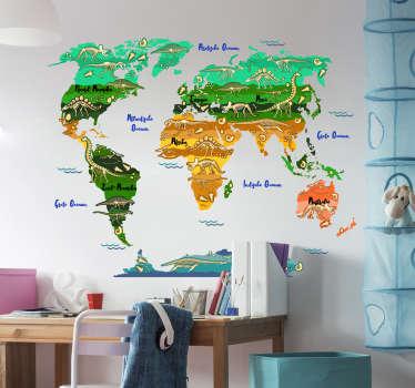 Kinderkamer wereldkaart met dieren