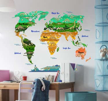 Enkelt å bruke veggklistremerke på verdenskart med dinosaur i vakker bakgrunnsstil. Dekorativ design for enhver flat overflate.