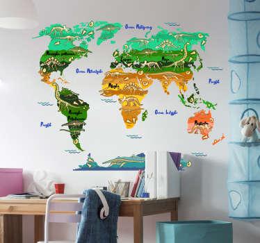 Naklejka z rysunkiem mapa świata z dinozaurami
