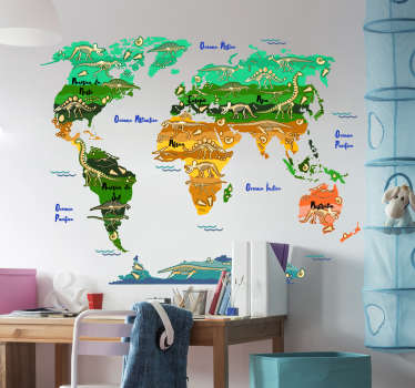 Divertido adesivo decorativo para quarto infantil com mapa mundo e os dinossauros que viveram em cada um dos continentes.