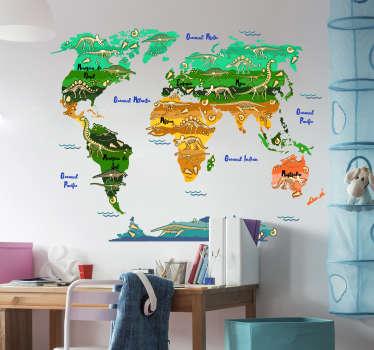 Autocolant ușor de aplicat pe harta lumii decorative cu dinozauri. Deign este o temă pentru ilustrarea copiilor și ideală pentru orice suprafață plană.