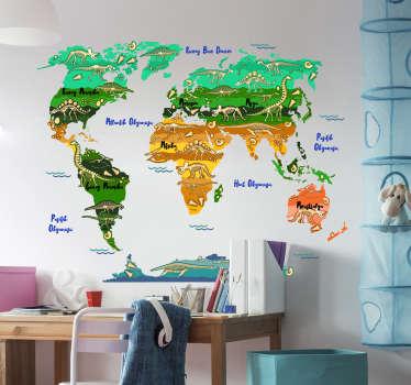 Dünya haritası açıklayıcı duvar sticker dinozorlar çocuklar için ideal ev ve herhangi bir yerde herhangi bir düz duvar yüzeyi.