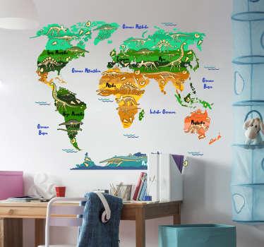 Pegatina en vasco formada por el diseño de un mapamundi con la ilustración de varios dinosaurios. Descuentos para nuevos usuarios.