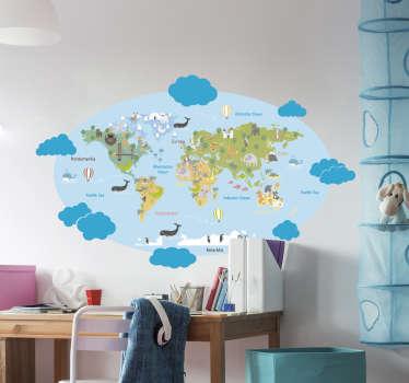 Aufkleber Weltkarte mit Wolken
